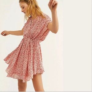 Free People one fine day mini dress pink NWT
